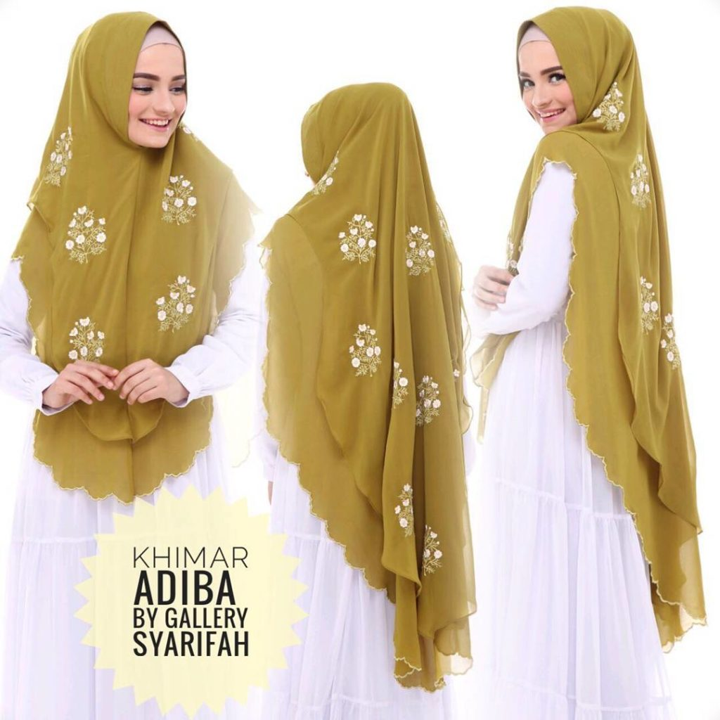 Khimar Adiba Bordir by Gallery Syarifah Kerudung Motif Bunga Cerruty 2 Layer Warna Avocado