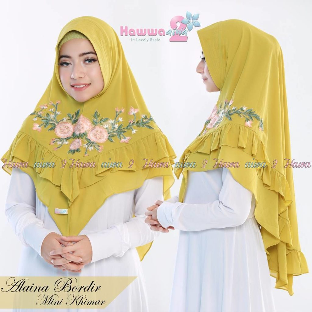 Khimar Alaina Bordir by Hawwa Aiwa Kerudung Pet Ceruty Babydoll 2 Layer No 01