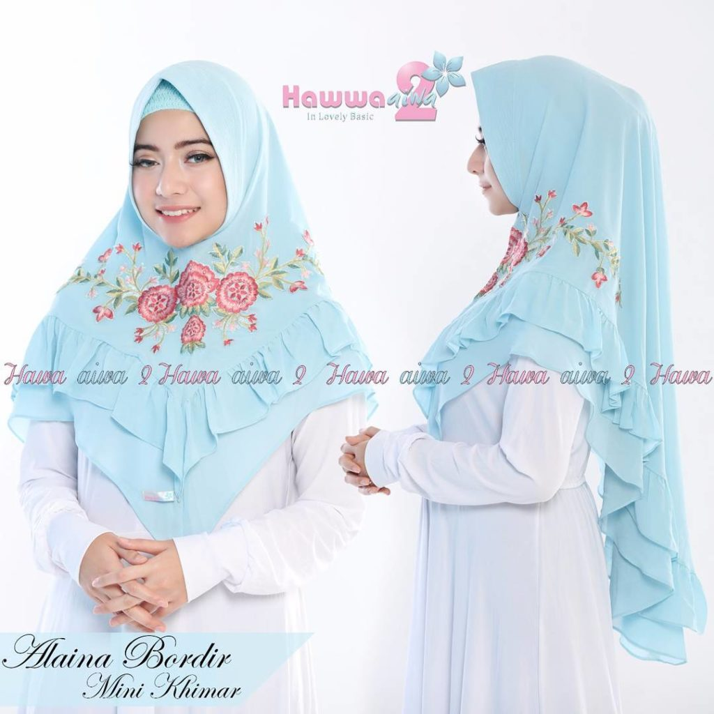 Khimar Alaina Bordir by Hawwa Aiwa Kerudung Pet Ceruty Babydoll 2 Layer No 02