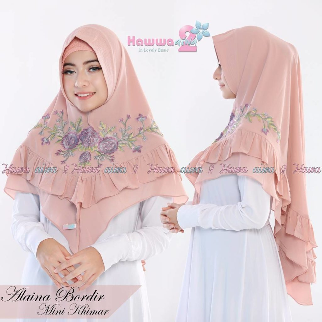 Khimar Alaina Bordir by Hawwa Aiwa Kerudung Pet Ceruty Babydoll 2 Layer No 03