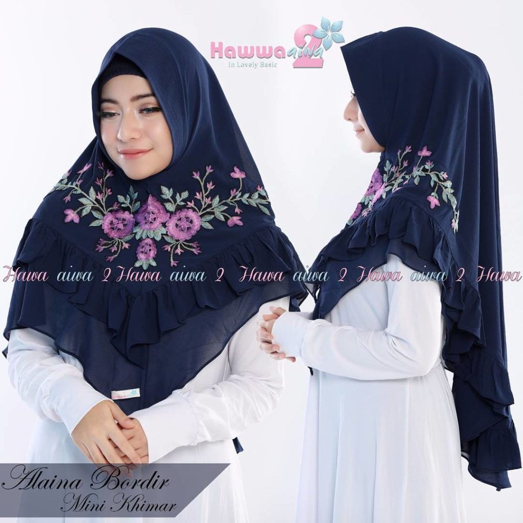 Khimar Alaina Bordir by Hawwa Aiwa Kerudung Pet Ceruty Babydoll 2 Layer No 04