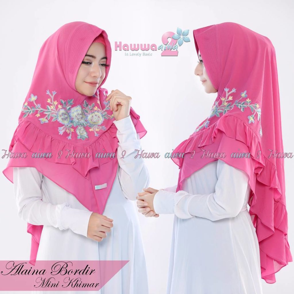 Khimar Alaina Bordir by Hawwa Aiwa Kerudung Pet Ceruty Babydoll 2 Layer No 06