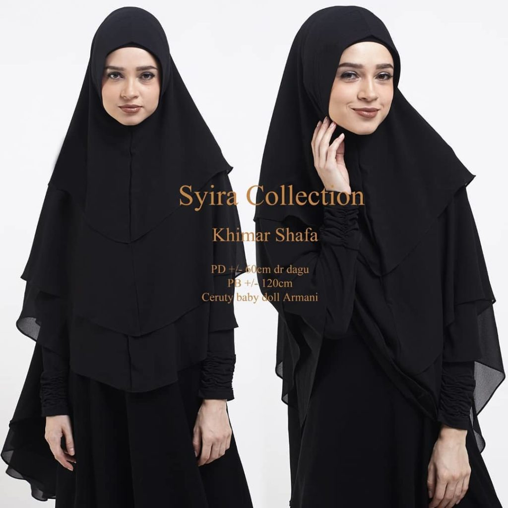 Khimar Shafa by Syira Collection Kerudung 3 Lapis Bahan Ceruti Babydoll 1 Warna Hitam