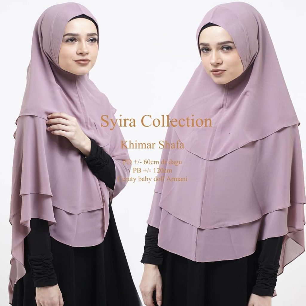 Khimar Shafa by Syira Collection Kerudung 3 Lapis Bahan Ceruti Babydoll 2 Warna Ungu