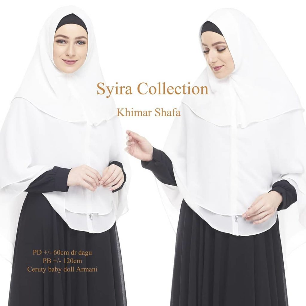 Khimar Shafa by Syira Collection Kerudung 3 Lapis Bahan Ceruti Babydoll 3 Warna Putih