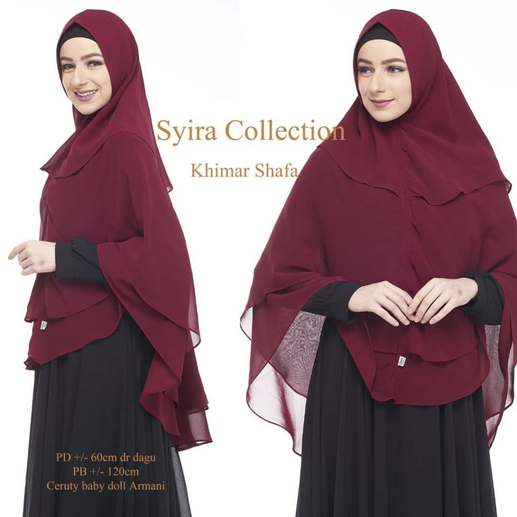 Khimar Shafa by Syira Collection Kerudung 3 Lapis Bahan Ceruti Babydoll 4 Warna Merah Marun