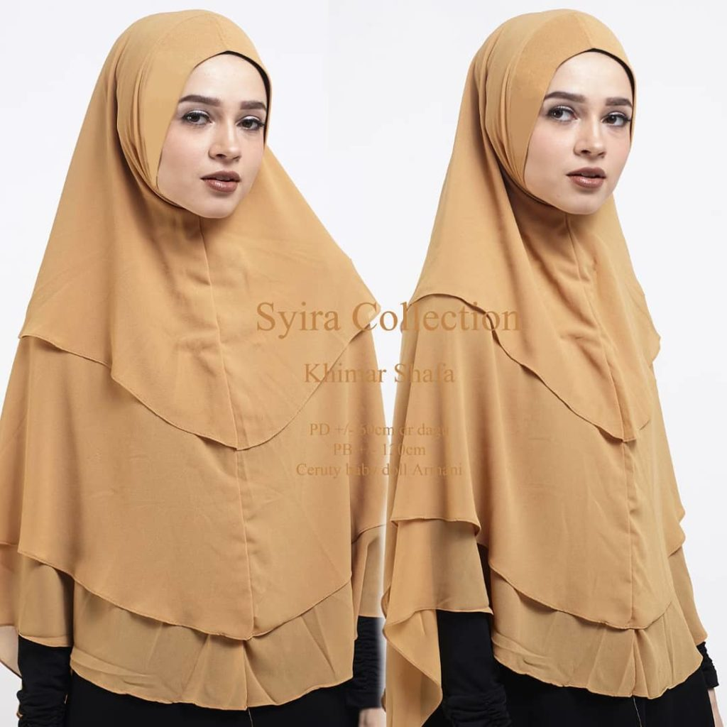 Khimar Shafa by Syira Collection Kerudung 3 Lapis Bahan Ceruti Babydoll 5 Warna Kuning Gold