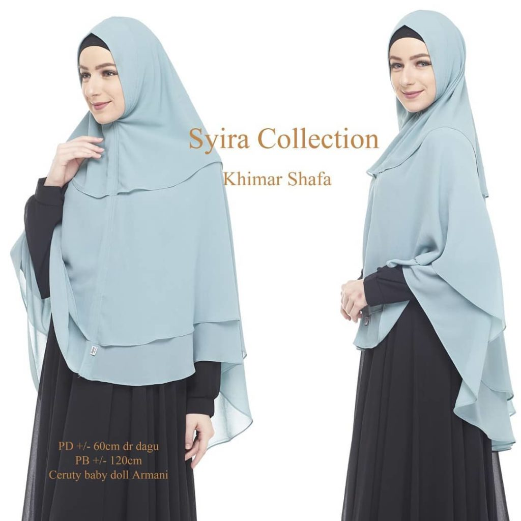 Khimar Shafa by Syira Collection Kerudung 3 Lapis Bahan Ceruti Babydoll 6 Biru Muda