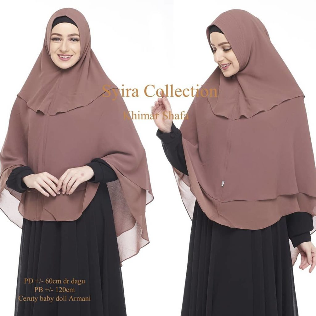 Khimar-Shafa-by-Syira-Collection-Kerudung-3-Lapis-Bahan-Ceruti-Babydoll-7-Warna-Coklat