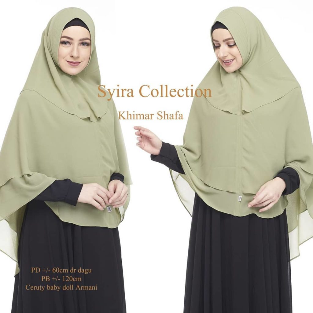 Khimar Shafa by Syira Collection Kerudung 3 Lapis Bahan Ceruti Babydoll 8 Hijau