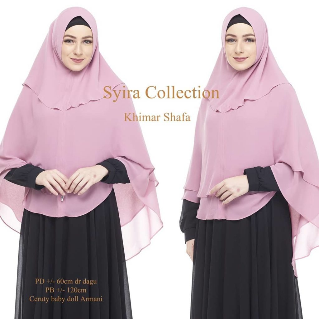 Khimar Shafa by Syira Collection Kerudung 3 Lapis Bahan Ceruti Babydoll 9 Warna Pink