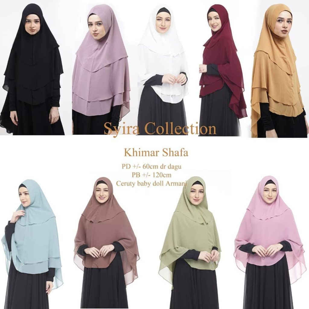 Khimar Shafa by Syira Collection Kerudung 3 Lapis Bahan Ceruti Babydoll Pilihan Warna