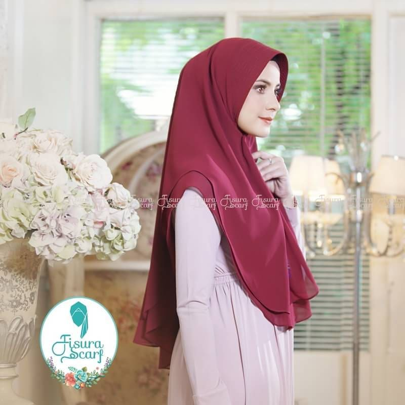 Khimar Sonkey by Fisura Khimar Simple 2 Layer Bahan Ceruti Babydoll 9 1