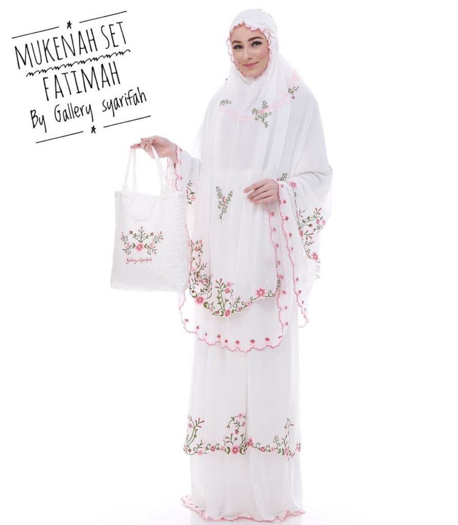 Mukena Fatimah by Gallery Syarifah Mukenah Bordir Eksklusif Bahan Ceruti Barbie 1 1 Warna Putih
