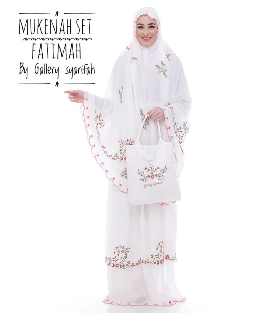 Mukena Fatimah by Gallery Syarifah Mukenah Bordir Eksklusif Bahan Ceruti Barbie 1 2 Warna Putih