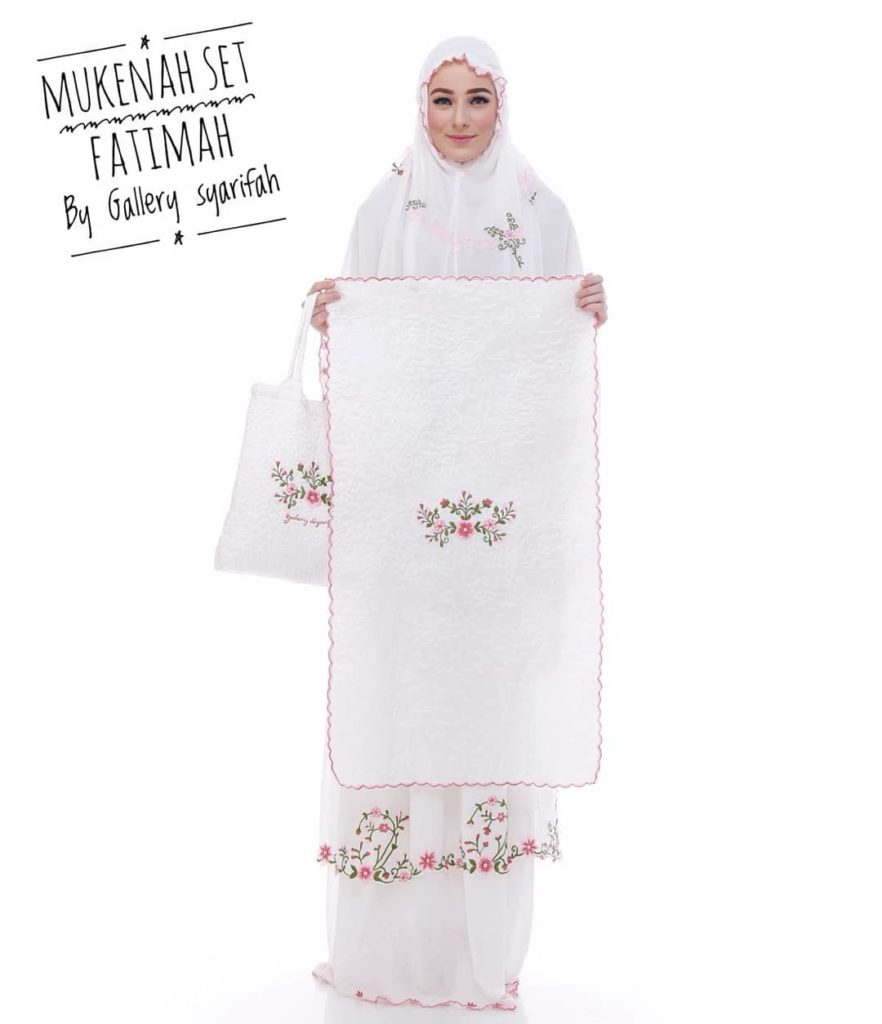Mukena Fatimah by Gallery Syarifah Mukenah Bordir Eksklusif Bahan Ceruti Barbie 1 3 Warna Putih