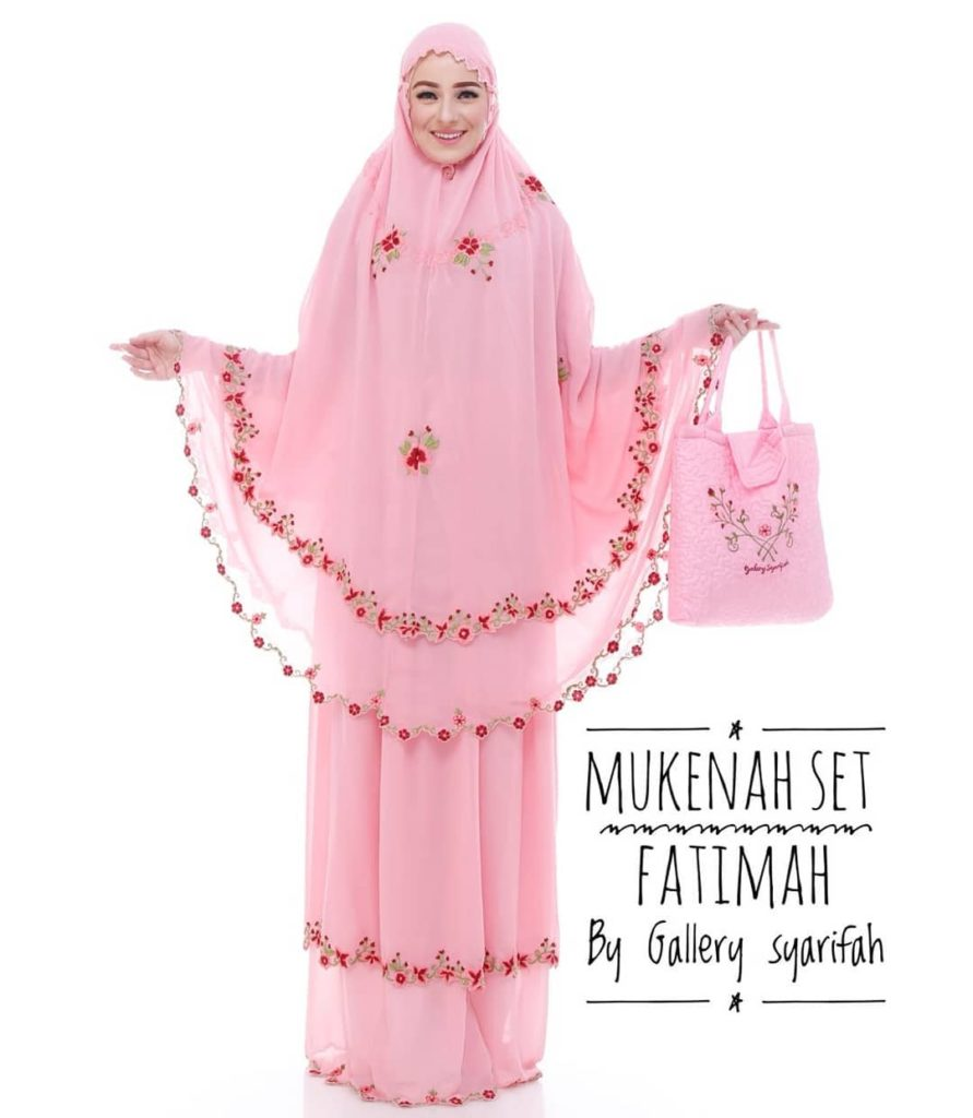 Mukena Fatimah by Gallery Syarifah Mukenah Bordir Eksklusif Bahan Ceruti Barbie 3 1 Warna Pink
