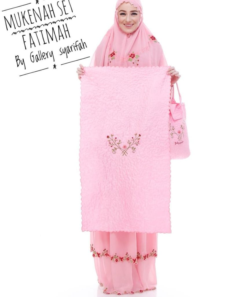 Mukena Fatimah by Gallery Syarifah Mukenah Bordir Eksklusif Bahan Ceruti Barbie 3 2 Warna Pink