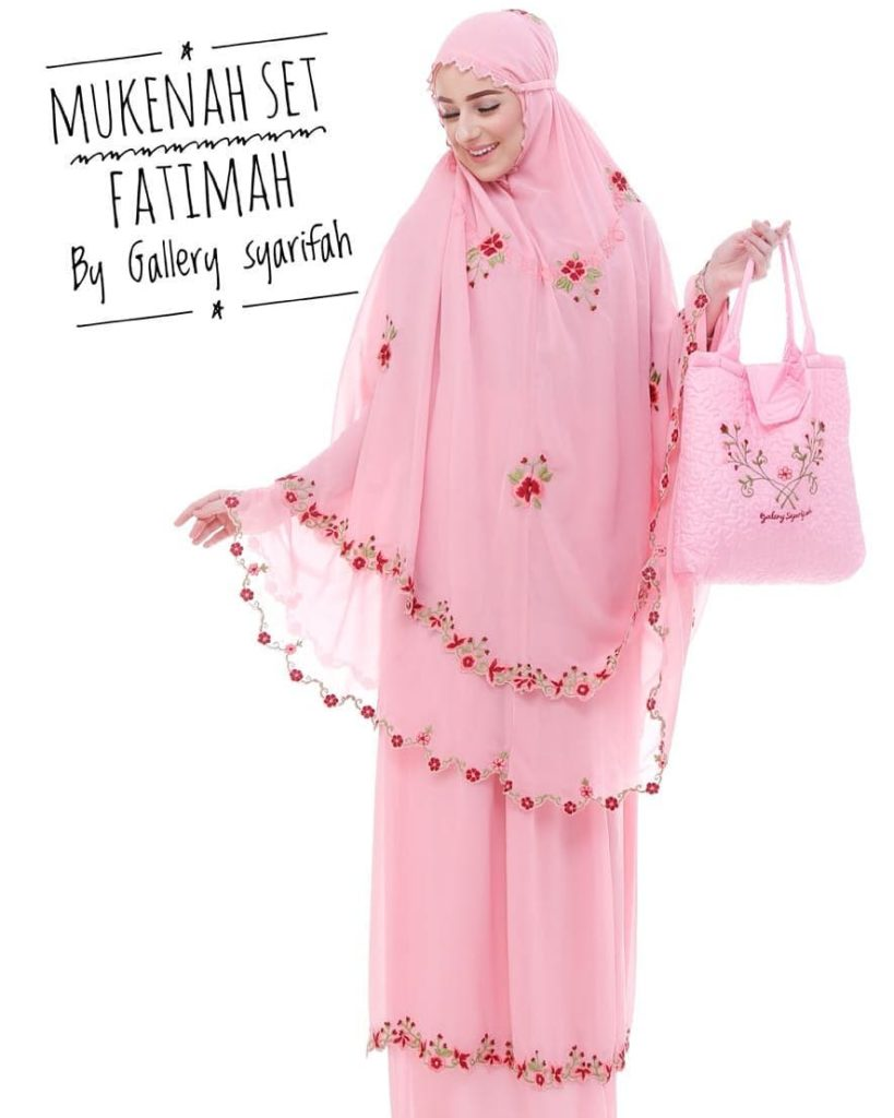 Mukena Fatimah by Gallery Syarifah Mukenah Bordir Eksklusif Bahan Ceruti Barbie 3 Warna Pink