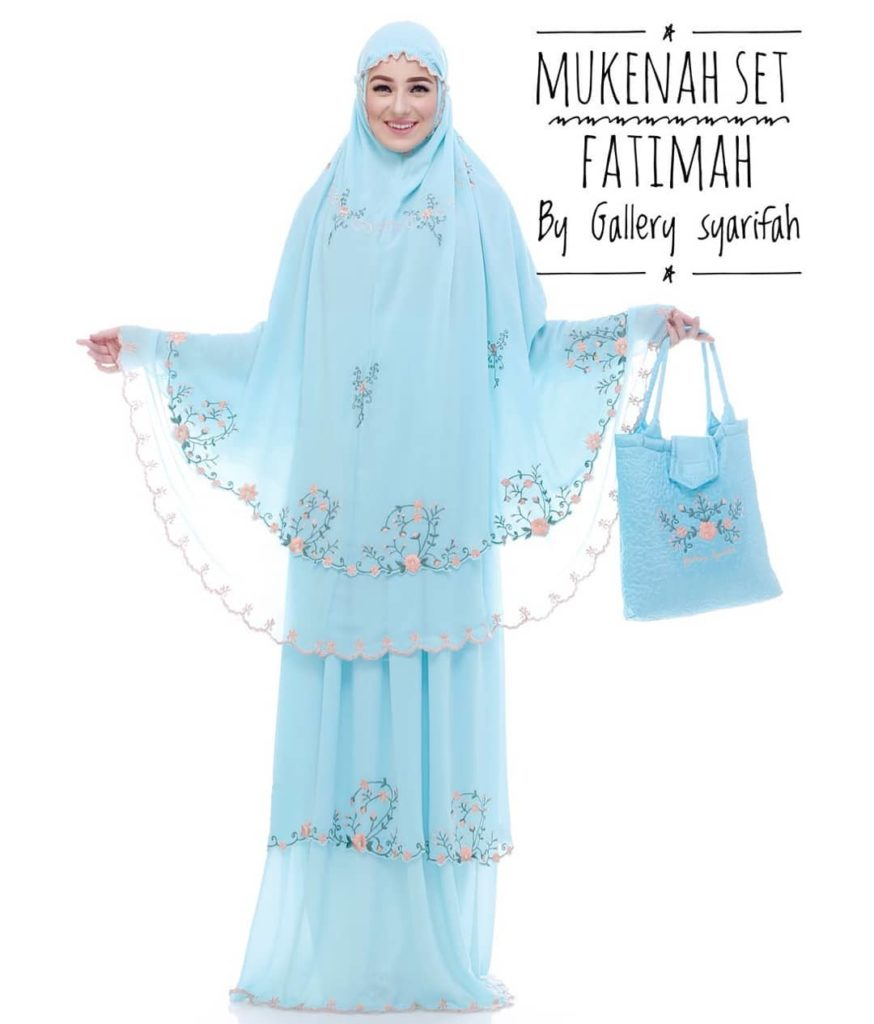 Mukena Fatimah by Gallery Syarifah Mukenah Bordir Eksklusif Bahan Ceruti Barbie 5 1 Warna Mint