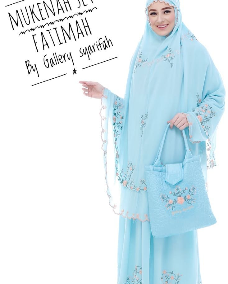 Mukena Fatimah by Gallery Syarifah Mukenah Bordir Eksklusif Bahan Ceruti Barbie 5 Warna Mint